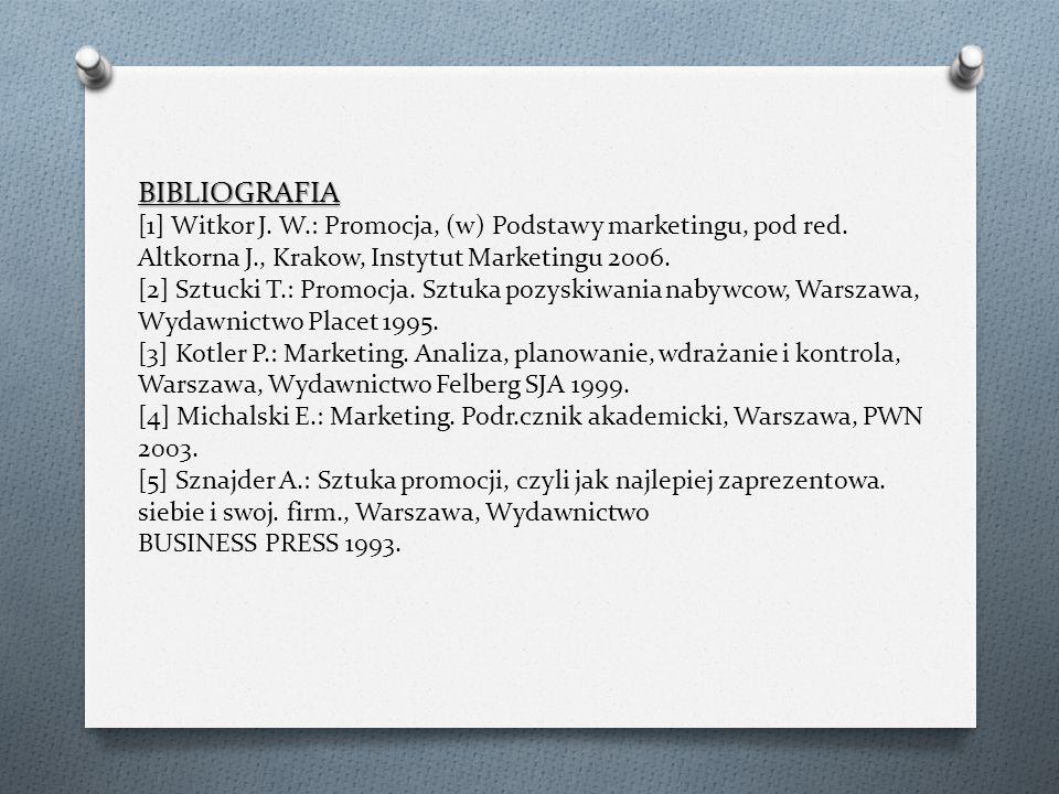 BIBLIOGRAFIA [1] Witkor J. W